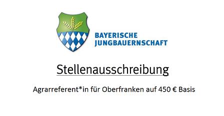 Stellenausschreibung: Agrarreferent*in für Oberfranken