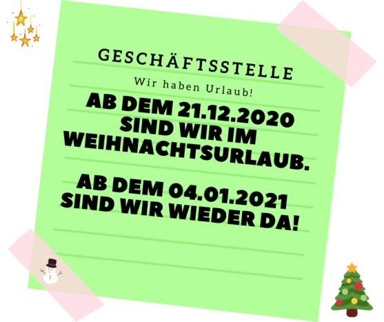 Geschäftsstelle Würzburg im Weihnachtsurlaub