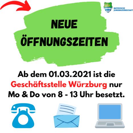 Neue Öffnungszeiten in Würzburg ab 01.03.2021