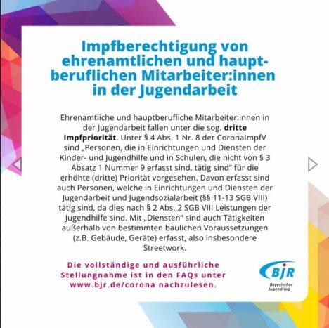 Impfpriorität 3 für in der Jugendarbeit Tätige!