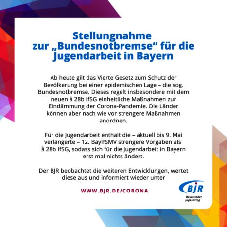 Bundesnotbremse: keine Änderungen für die bayerische Jugendarbeit